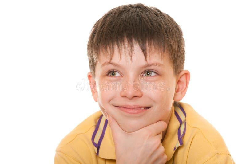 chłopiec rozochocony zbliżenia kolor żółty obrazy stock