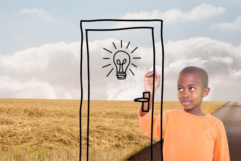 Chłopiec rysuje drzwi na drodze zdjęcia stock