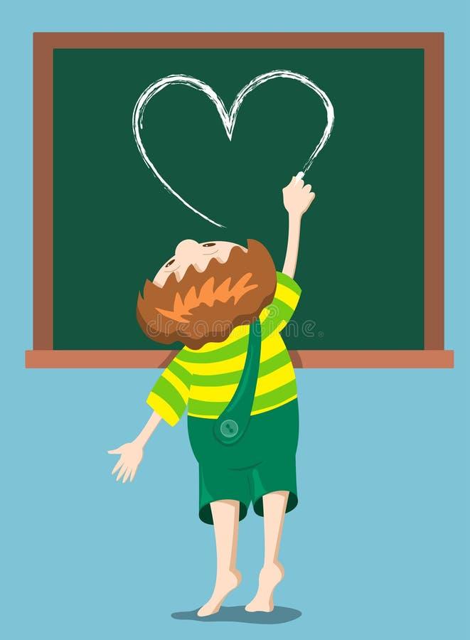 chłopiec rysuje serce royalty ilustracja