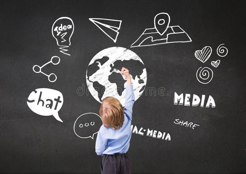 Chłopiec rysunku ziemia z grafiką o internecie royalty ilustracja