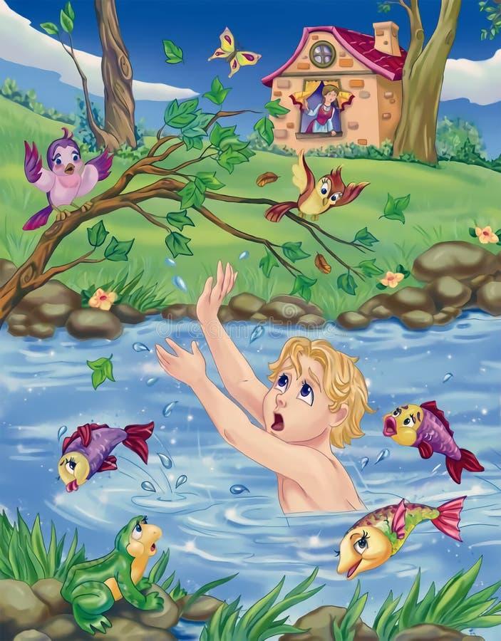 chłopiec słabnięcie w szybkim strumieniu royalty ilustracja