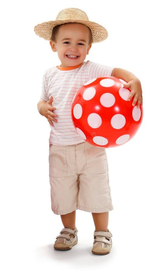 chłopiec słoma rozochocona kapeluszowa mała obrazy stock