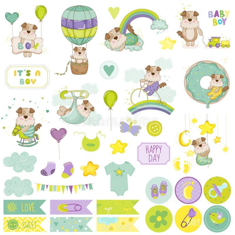 Chłopiec Scrapbook Psi set dekoracyjni elementów ilustracji