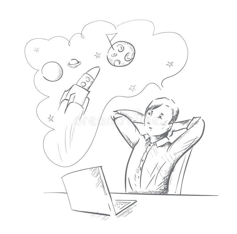 Chłopiec sen kosmos ilustracja wektor
