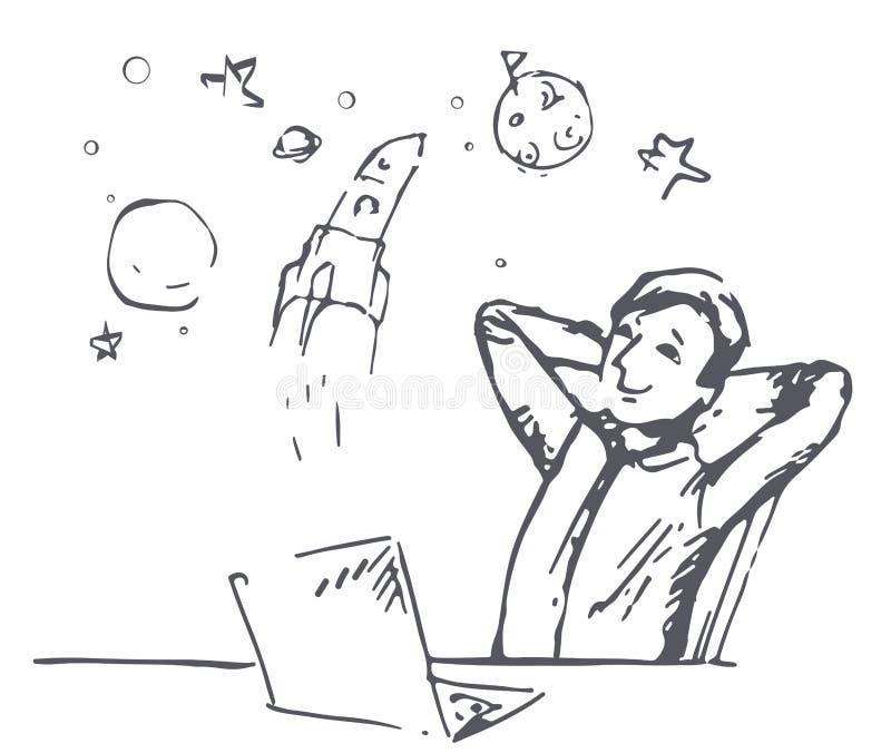 Chłopiec sen kosmos ilustracji
