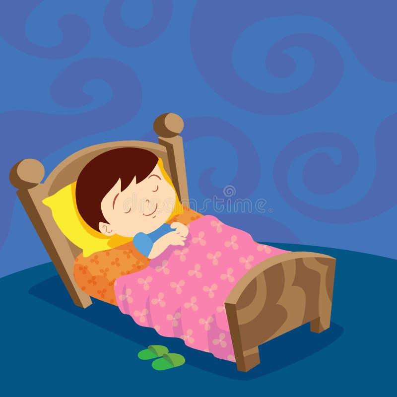 Chłopiec sen słodki sen ilustracji