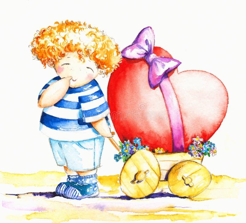 chłopiec serce ilustracja wektor
