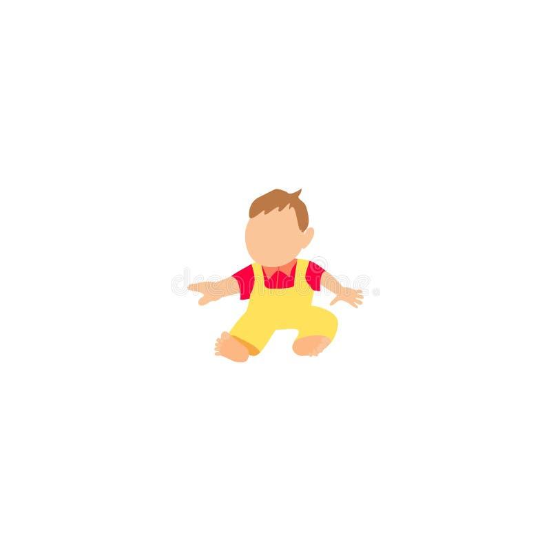 Chłopiec siedzi na ziemi royalty ilustracja