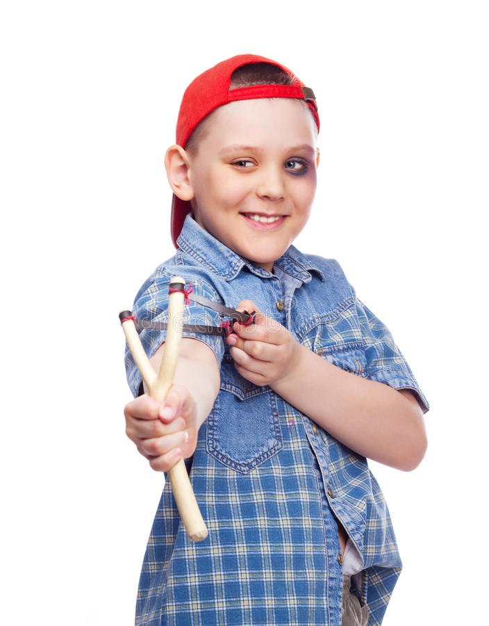 chłopiec slingshot zdjęcia royalty free