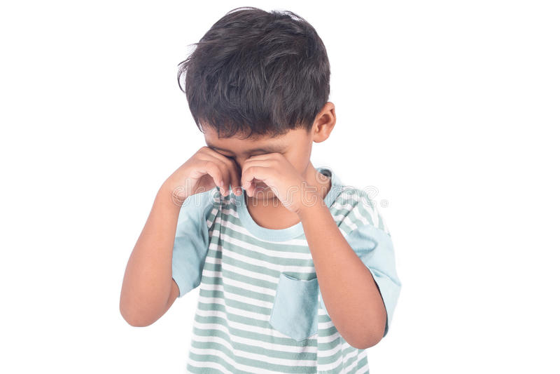 chłopiec smutna i płacz na białym tle fotografia royalty free