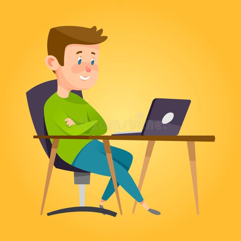 Chłopiec studiowanie w sala lekcyjnej z notatnikiem ilustracja wektor