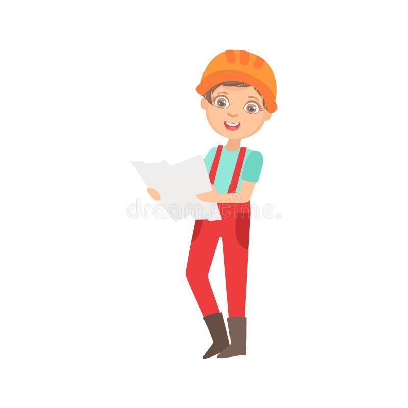 Chłopiec Studiuje budowa plan, dzieciak Ubierający Jako budowniczy Na budowy przyszłości sen zawodu secie ilustracja wektor