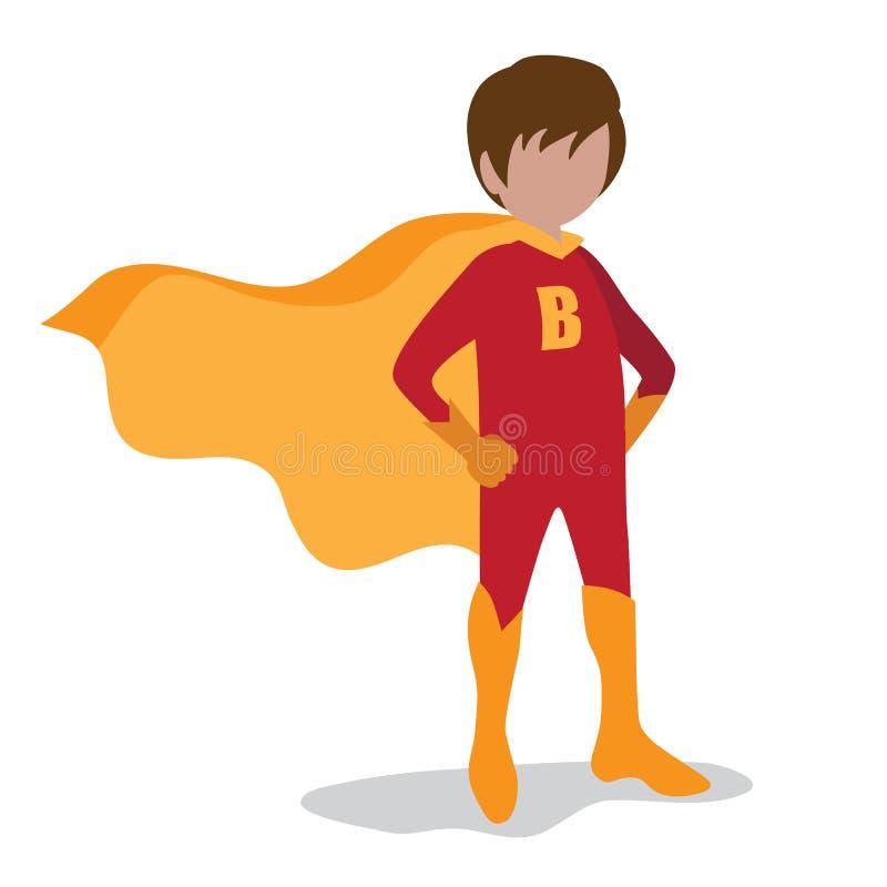 Chłopiec super bohater na białym tle royalty ilustracja