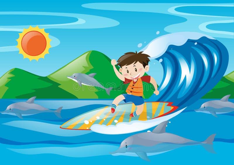 Chłopiec surfing na gigantycznej fala ilustracja wektor