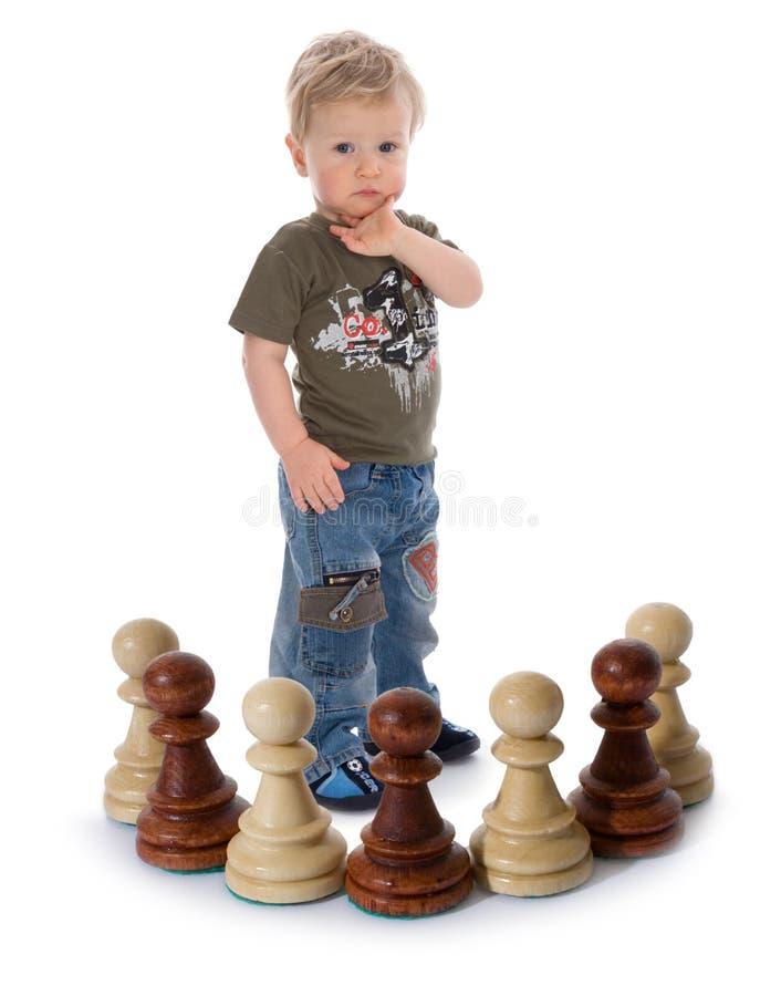 chłopiec szachy skład zdjęcia stock