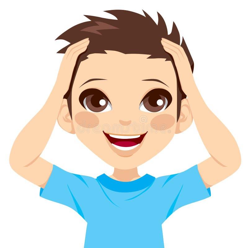 Chłopiec Szczęśliwy Zdziwiony ilustracja wektor