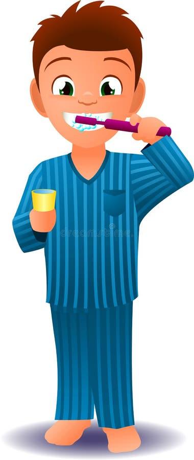 Chłopiec szczotkuje jego zęby w pijamas royalty ilustracja