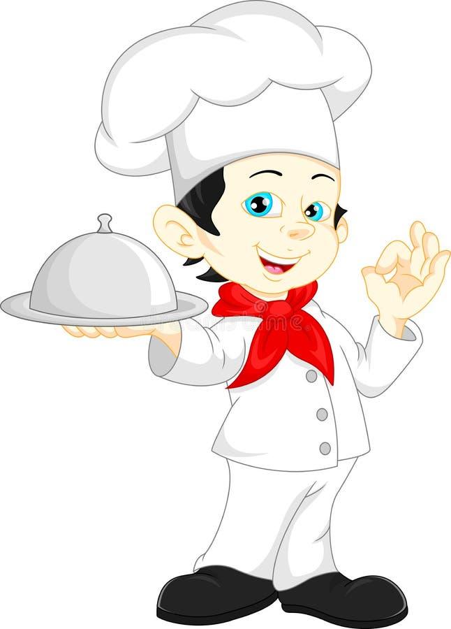 Chłopiec szefa kuchni kreskówka ilustracja wektor