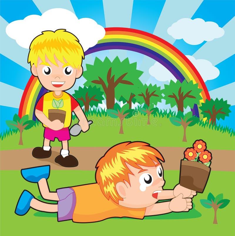 Chłopiec target734_1_ ilustracja wektor