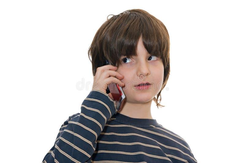 chłopiec telefon komórkowy target1188_0_ obrazy stock