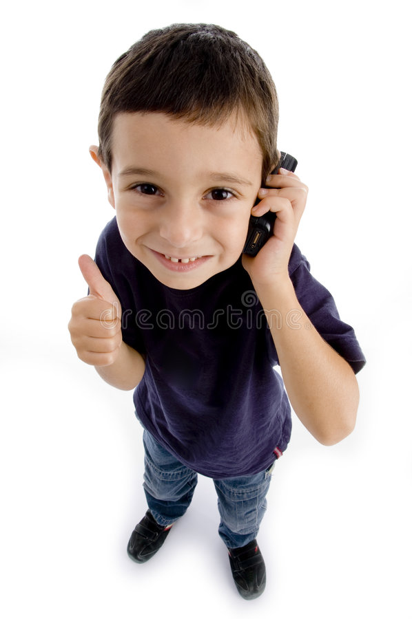 chłopiec telefon ruchliwie wywoławczy życzliwy zdjęcie stock