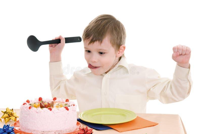 chłopiec tort zdjęcia royalty free
