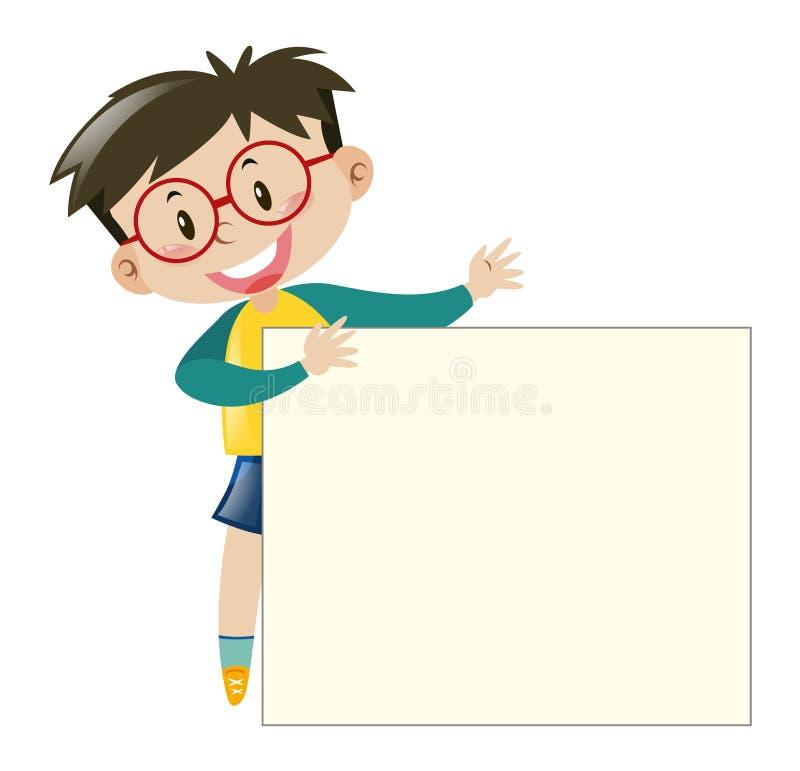 Chłopiec trzyma papier z szkłami ilustracji