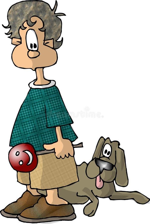 chłopiec trzymający frajer ilustracji