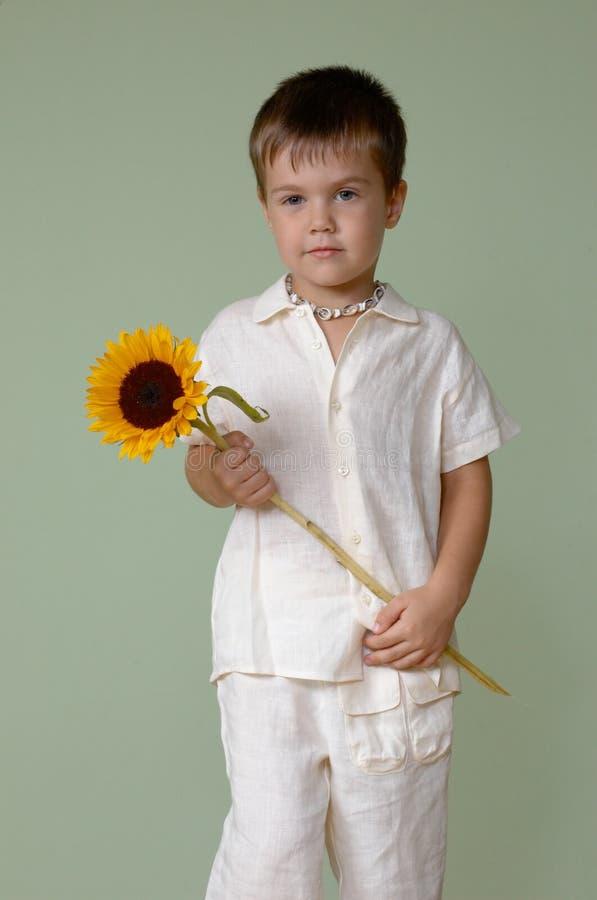 chłopiec trzymający słonecznik fotografia royalty free