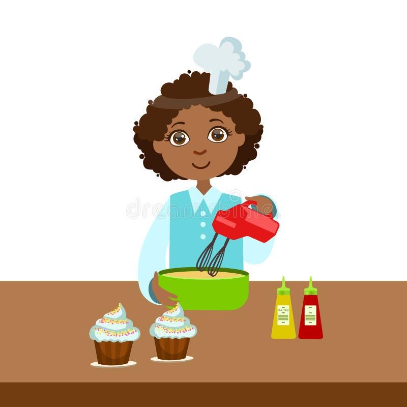 Chłopiec Używa melanżer W pucharze, Śliczny dzieciak W Naczelnego Toque Kapeluszowej Kulinarnej Karmowej Wektorowej ilustraci royalty ilustracja