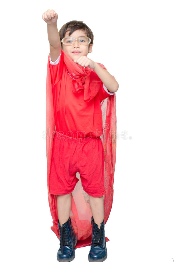 Chłopiec ubiera w górę bohatera latania jako zdjęcia stock