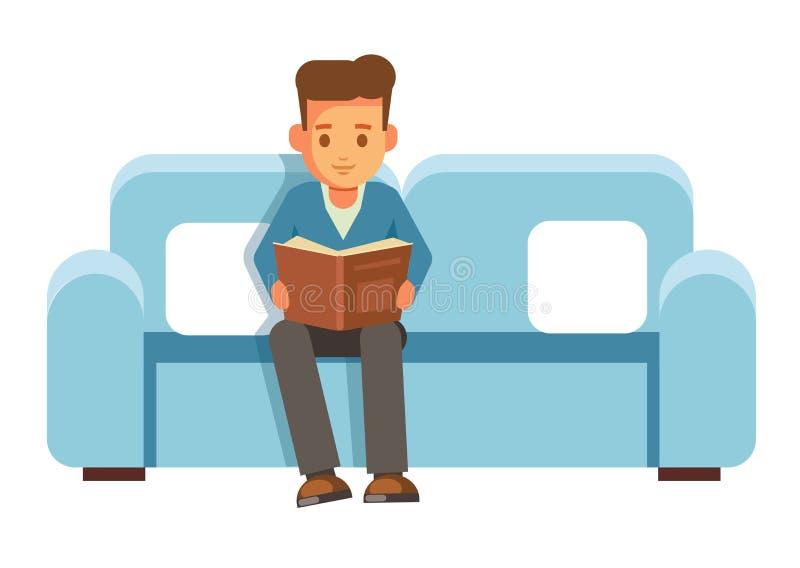Chłopiec uczeń siedzi na cauch z książką i czyta ilustracji