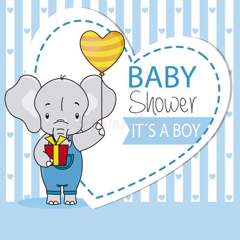 Chłopiec urodzinowa karta Śliczny słoń z prezentem i balonem ilustracji