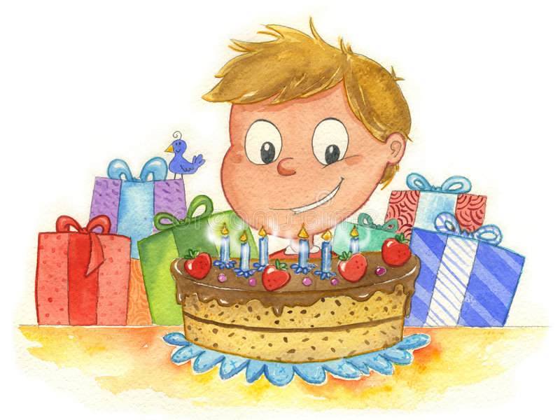 chłopiec urodzinowy tort ilustracji