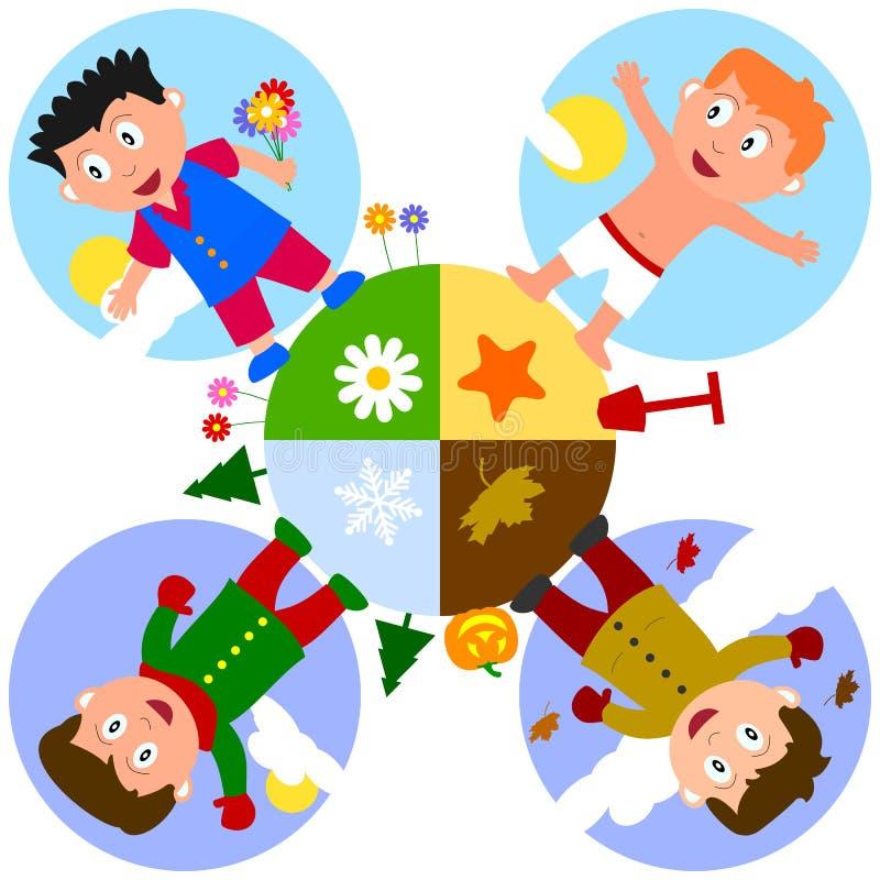 chłopiec uziemiają sezony ilustracji