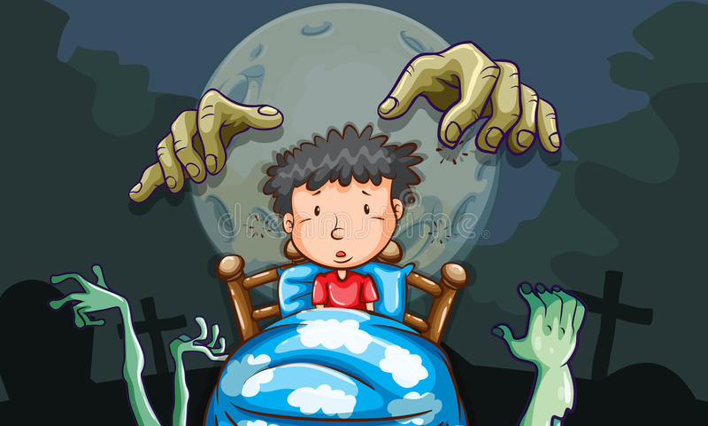 Chłopiec w łóżkowym mieć koszmar ilustracja wektor