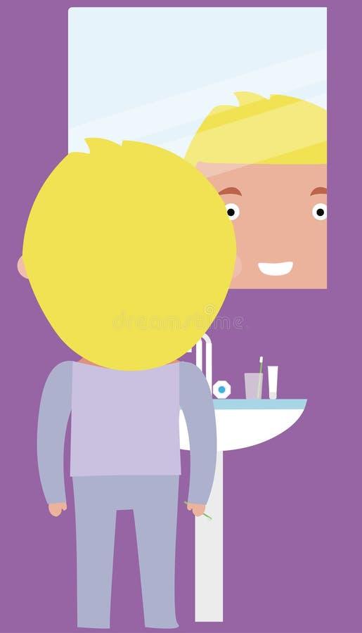Chłopiec w łazience zdjęcia royalty free
