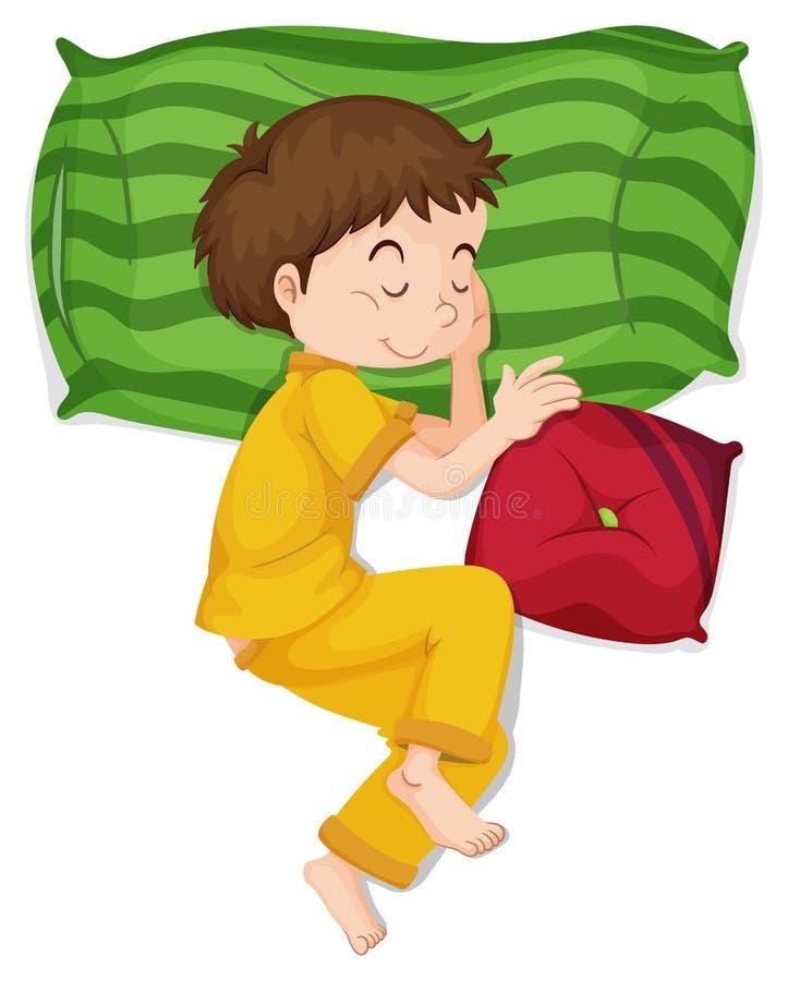 Chłopiec w żółtym pj dosypianiu royalty ilustracja