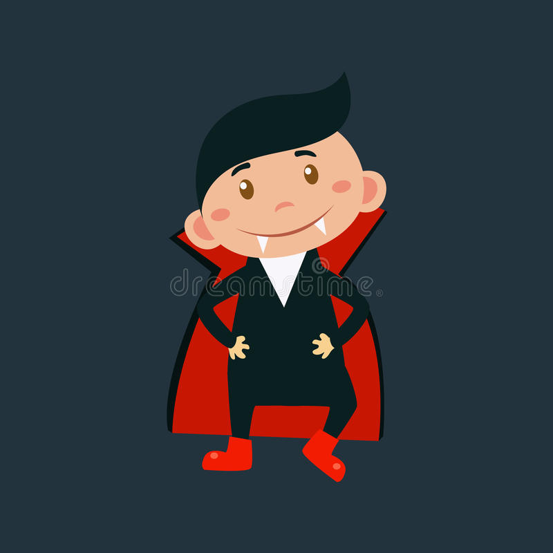 Chłopiec W Dracula Halloweenowym przebraniu ilustracja wektor