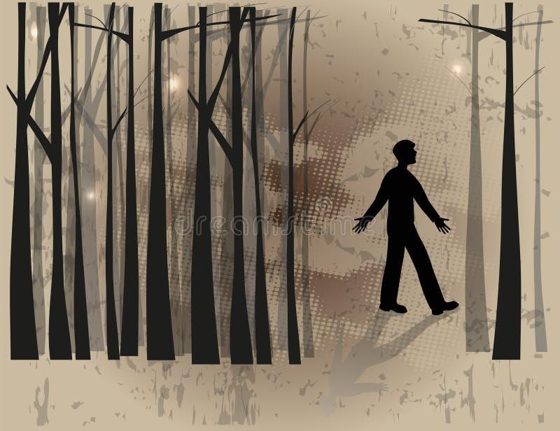Chłopiec w drewnach ilustracji