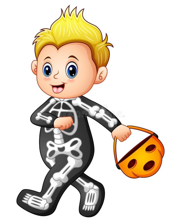 Chłopiec w Halloween zredukowanym kostiumu z dyniowym koszem royalty ilustracja