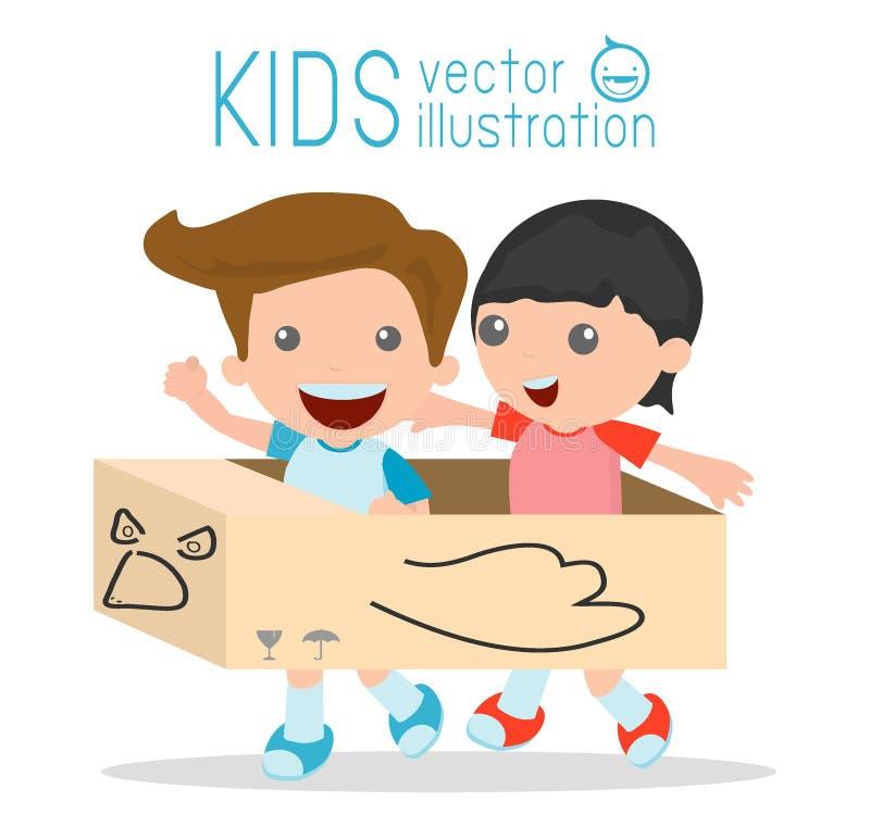 Chłopiec w kartonowym samolocie, Kreatywnie dzieciaki bawić się z jego kartonowym samolotem na białym tle ilustracja wektor