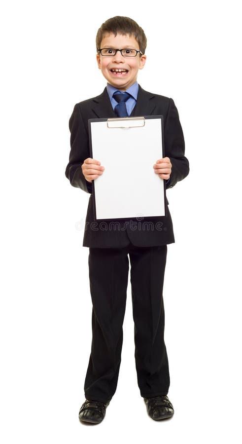 Chłopiec w kostiumu przedstawienia pustego miejsca schowku obrazy stock