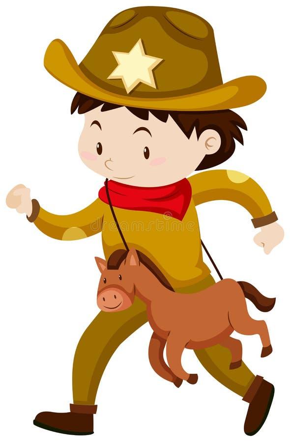 Chłopiec w kowbojskim kostiumu ilustracji