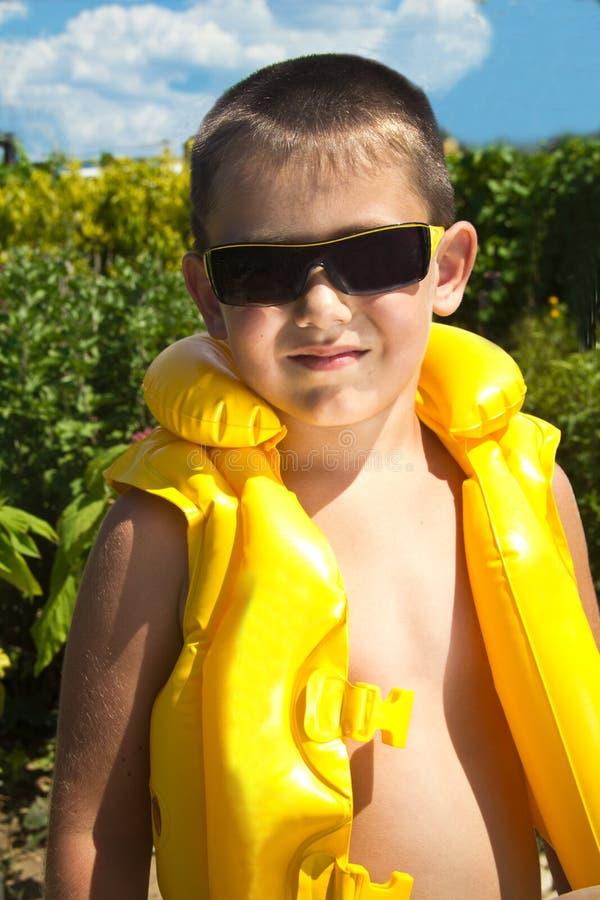 Chłopiec w lifejacket fotografia stock