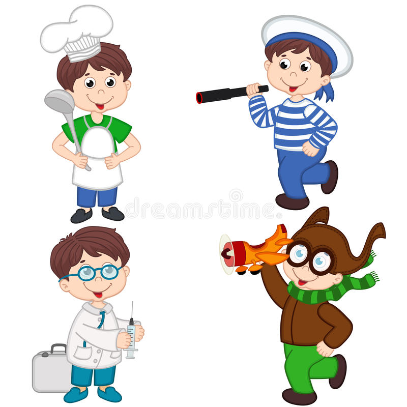 Chłopiec w różnorodnych zawodach kucharzi, żeglarz, lekarka, pilot royalty ilustracja