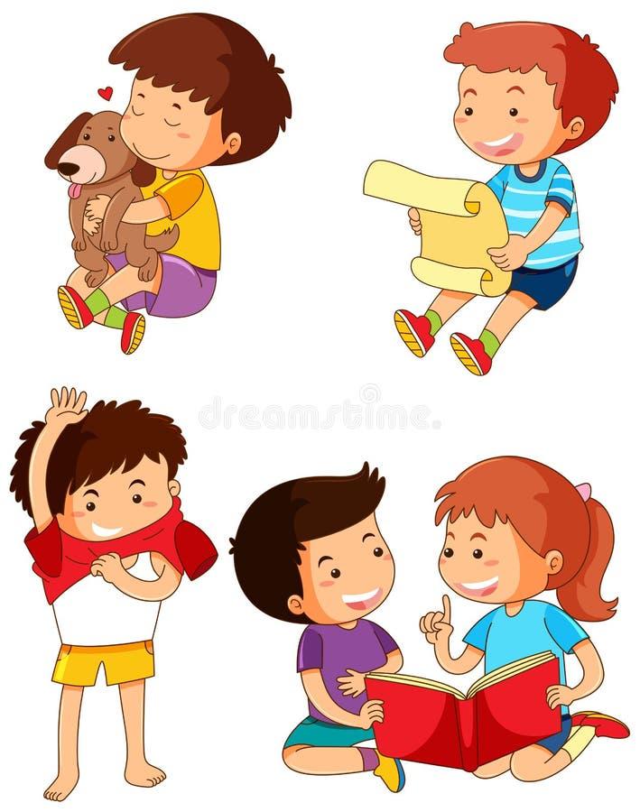 Chłopiec w różnych akcjach ilustracja wektor