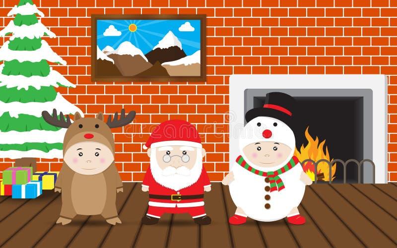 Chłopiec w reniferze, Święty Mikołaj, bałwanu kostium, Wektorowy boże narodzenie dom royalty ilustracja