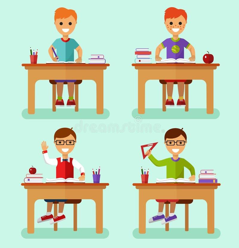 Chłopiec w sala lekcyjnej ilustracja wektor