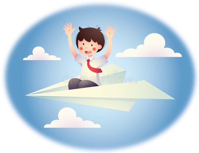 Chłopiec w samolocie ilustracja wektor